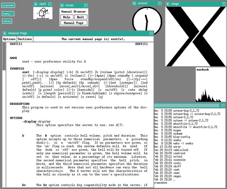 A Unix based X window System desktop (circa 1990).