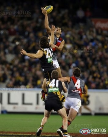 Essendon's Patrick Ryder and Richmond's Ivan Maric compete at a centre bounce during the 2013 AFL Round 09 Indigenous Round match between the Richmond Tigers and the Essendon Bombers at the MCG, Melbourne on May 25, 2013. (Photo: David Callow/AFL Media)