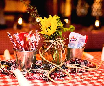 Wouldn't want the cowboy stuff but I like the tablecloths and mason jars for rehearsal dinner.