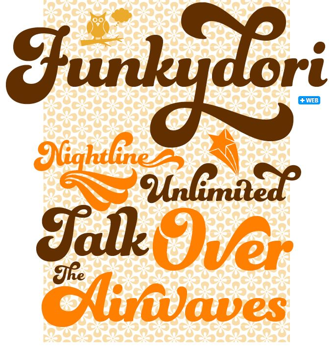 "Often dubbed ""the decade that taste forgot"" the Seventies were actually an exhilarating time for formal experiments in popular culture, and Funkydori perfectly captures the groovy and far out atmosphere of the era. #fonts #type"
