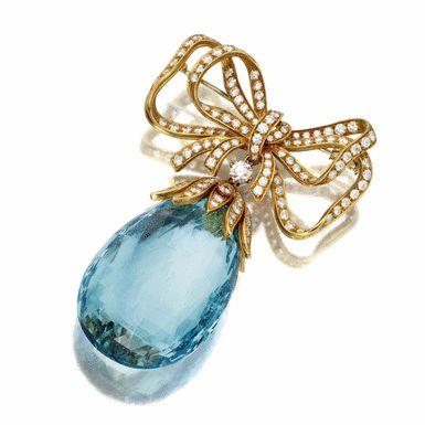 Aquamarine and diamond pendant-brooch, Tiffany & Co., Italy