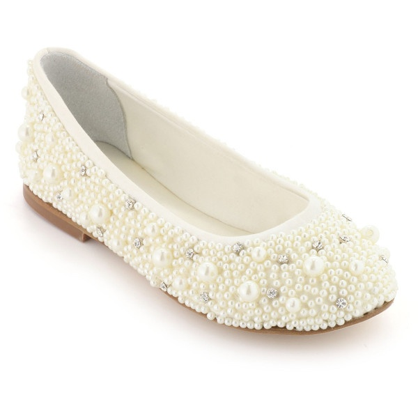 Dolce Gabbana Ballet shoes with ivory pearls ❤ liked on Polyvore