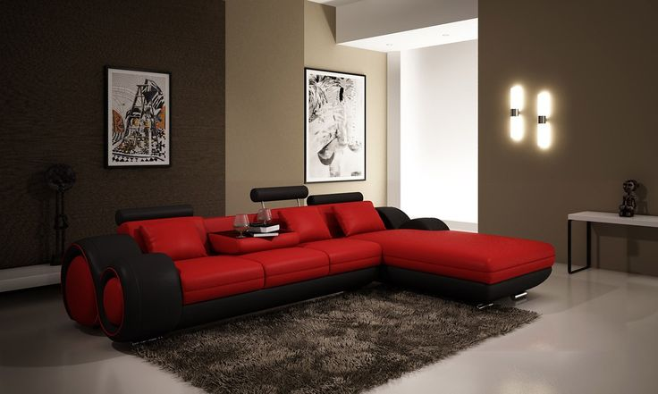 4085 Leather Sectional Sofa with Pull down footrest and Fold away Cup holder tray table #sectionalsofa #sectionals #couches #Furnituredesign #HomeDecor #redsofa #leathersofa #leathersofas #leathercouch #leathercouches