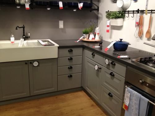 Ikea Lidingo Gray Lower Cabinets, black countertops, farmhouse sink