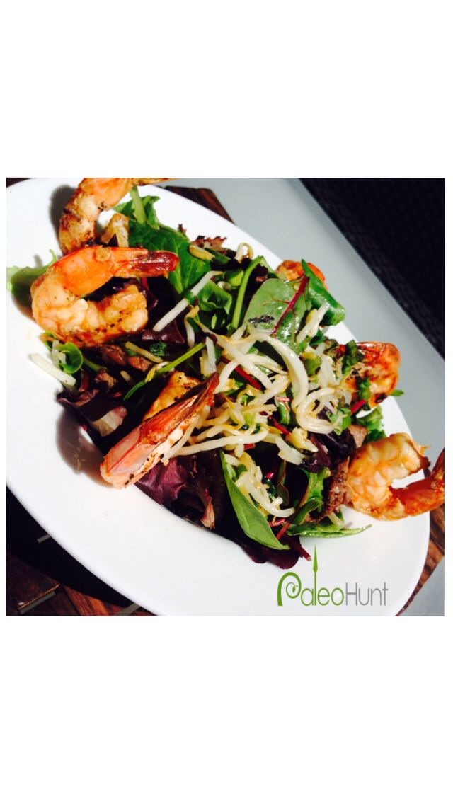 salad with grilled hanger steak, Korean grilled shrimp, and ginger ...