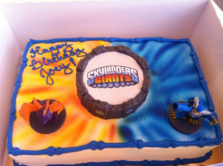 Skylander Cake - purchased Skylander  decoration kit from Amazon, ordered cake with spray colors from Publix, result was great and a very happy 7 year old boy!