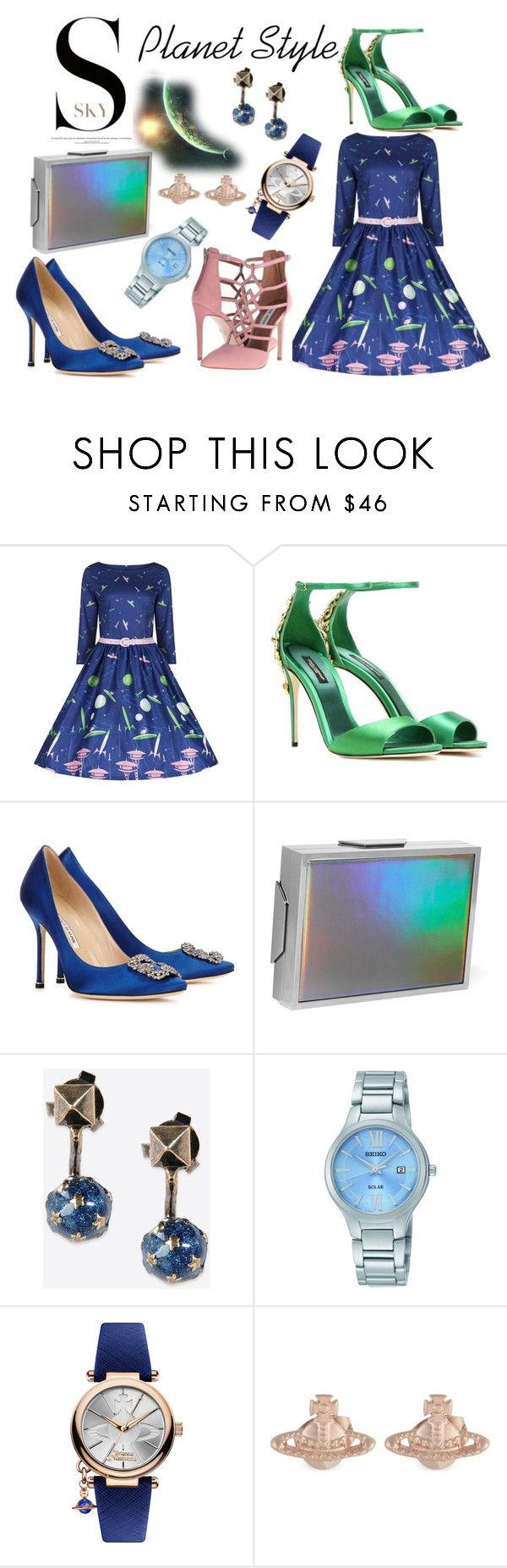 Planet Style by boutiquebrowser on Polyvore featuring Steve Madden, Manolo Blahnik, Dolce&Gabbana, Lee Savage, Vivienne Westwood, Seiko and Valentino