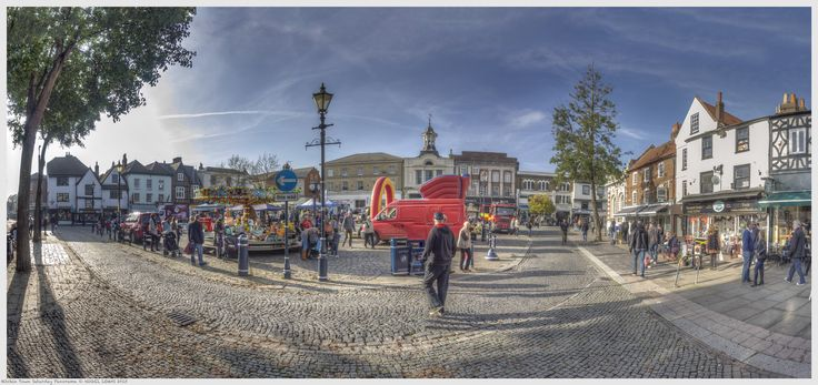 Hitchin Town Saturday Panorama - Hitchin Market Candids