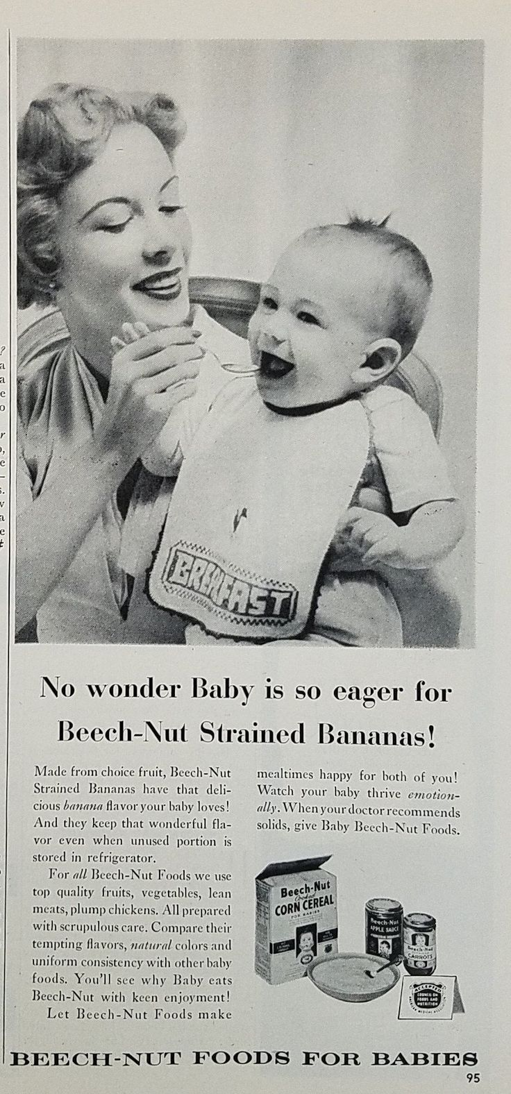 1954 Beech-Nut Baby Foods Vintage Ad - Mother Feeding Baby