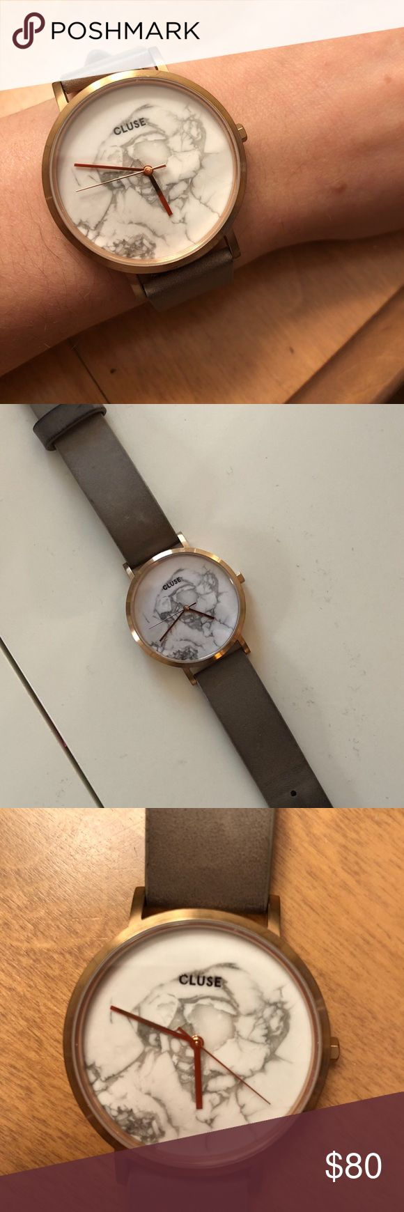 Cluse La Roche Rose Gold/Marble Watch 38mm  Worn once! Gorgeous slate grey with a hint of Metallic. Real leather and rose gold Cluse Accessories Watches