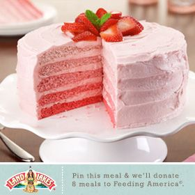 Till May 1, Land O'Lakes will donate $1 to Feeding America every time someone pins or repins a Land O'Lakes recipe on Pinterest. Strawberry Ombre Cake