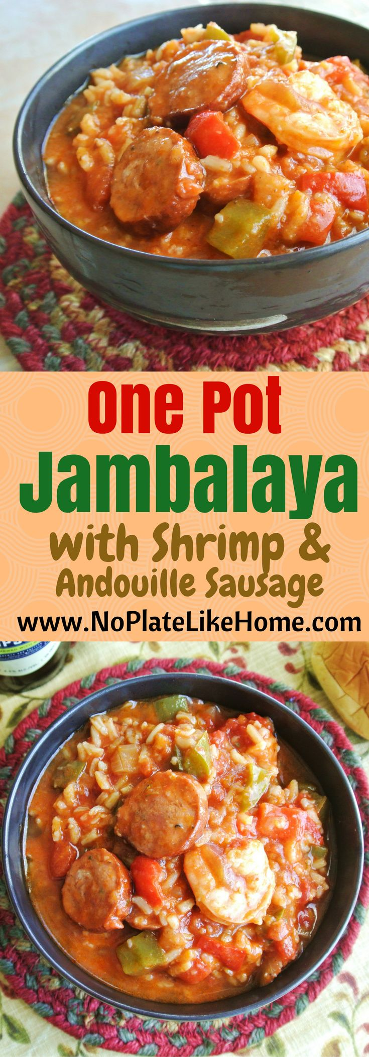 An easy gluten free, spicy one pot Jambalaya recipe with shrimp and Andouille sausage. It is a New Orleans homemade meal with creole spices your family will love. The leftovers taste even better! Pin for later!