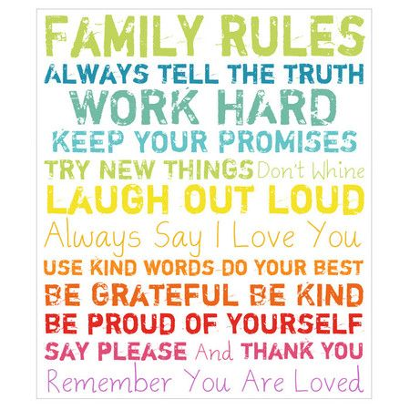 Family Rules Canvas Print in Multicolor.