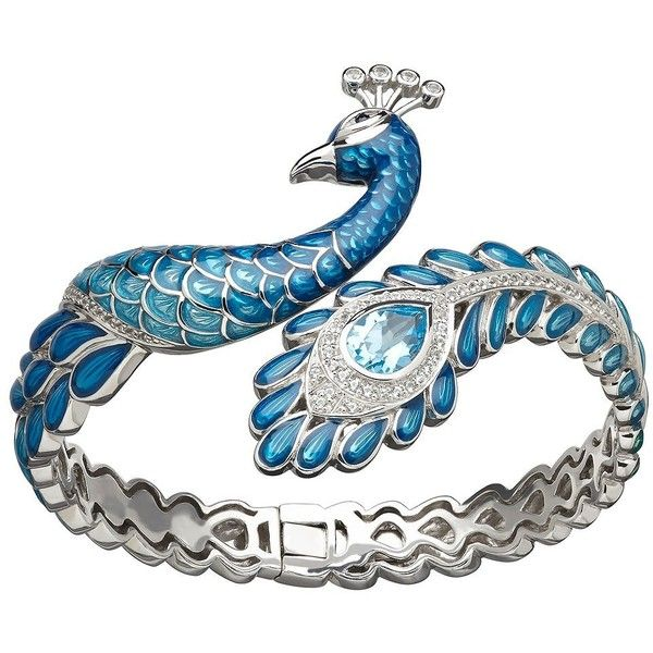 Lord & Taylor Peacock Bracelet ($675) ❤ liked on Polyvore featuring jewelry, bracelets, rings, blue enamel, peacock feather bracelet, blue bracelet, peacock jewelry, blue jewelry and peacock bangle