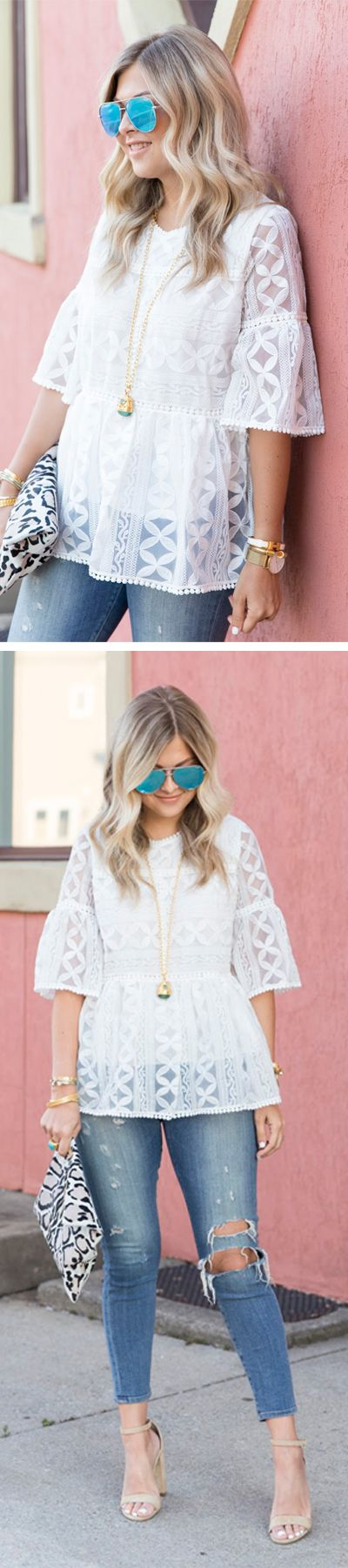 Summer's going to love you back in this loose-fitting dolly top with an eyelet lace design. Summer Lovin' Embroidered Dolly Top featured by Suburbanfauxpas Blog