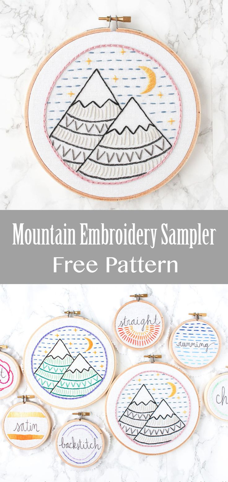 Learn several basic embroidery stitches with this mountain sampler.