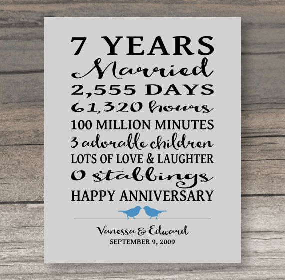 Wedding Gift 7 Year Anniversary : about 7 Year Anniversary on Pinterest 7 Year Anniversary Gift, Year ...