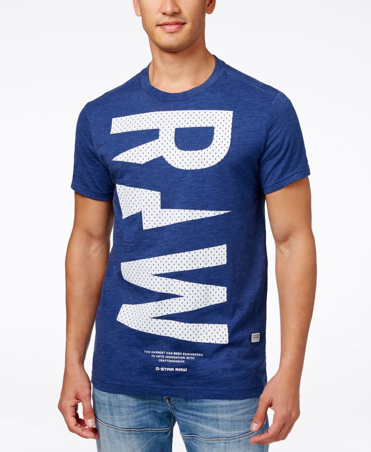 GStar Men's Raw Faux-Mesh Graphic-Print Logo T-Shirt