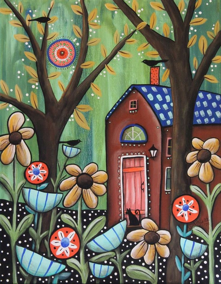 Sunday 11x14 ORIGINAL CANVAS PAINTING house trees cat bird FOLK ART Karla Gerard #FolkArtAbstractPrimitive