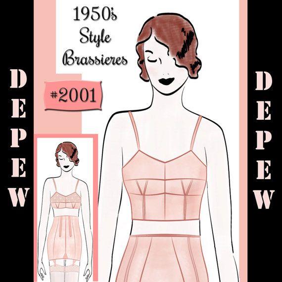 Vintage Sewing Pattern French Ladies 1950's Pinup Bra by Mrsdepew, $7.50