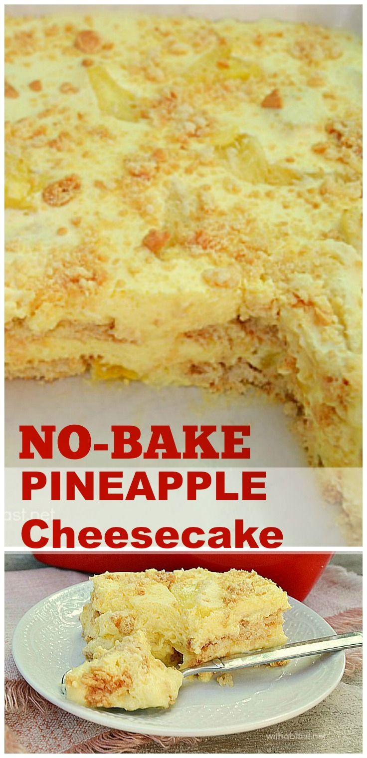 I have been making this No-Bake Pineapple Cheesecake for years and it is still one of our favorite desserts ~ Click image to find more popular food & drink Pinterest pins
