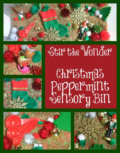 Christmas Peppermint Sensory Bin from Stir the Wonder