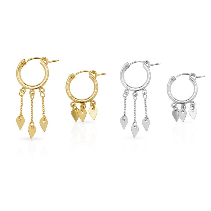 Style #3333 1.5cm thick hoop asymmetrical earring set featuring 0.5cm droplet charms that swing from fine chain. Available in: Sterling Silver $154...