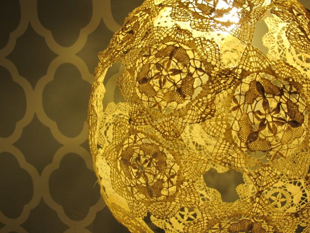 A modern Take on the Doily, a Lamp for less than $50......and I'm thinking you could do it for far less
