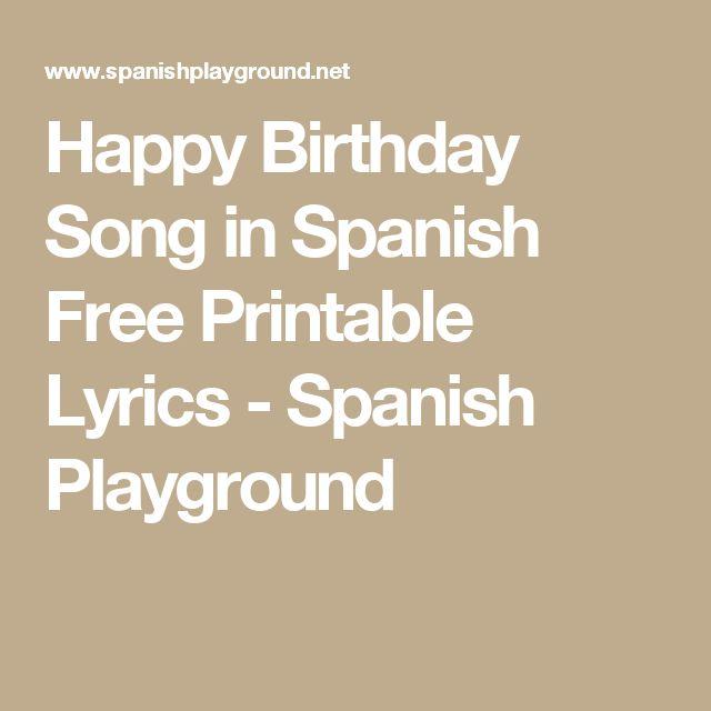 Happy Birthday Song In Spanish Free Printable Lyrics