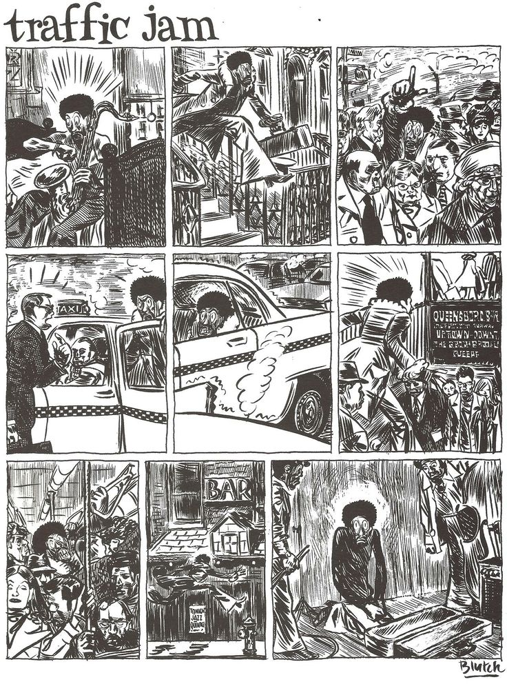 "orano: Blutch - ""Traffic Jam"" From ""Total Jazz"" - Editions du Seuil 2004 Originally published in Jazzman magazine"