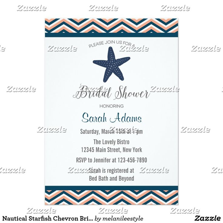 Nautical Starfish Chevron Bridal Shower Invitation Bridal shower invitation with nautical starfish design and navy blue and blush pink chevron background. Fun wedding invites. Customize invitations for your weddings. #invitations #invites #weddings  #bridal
