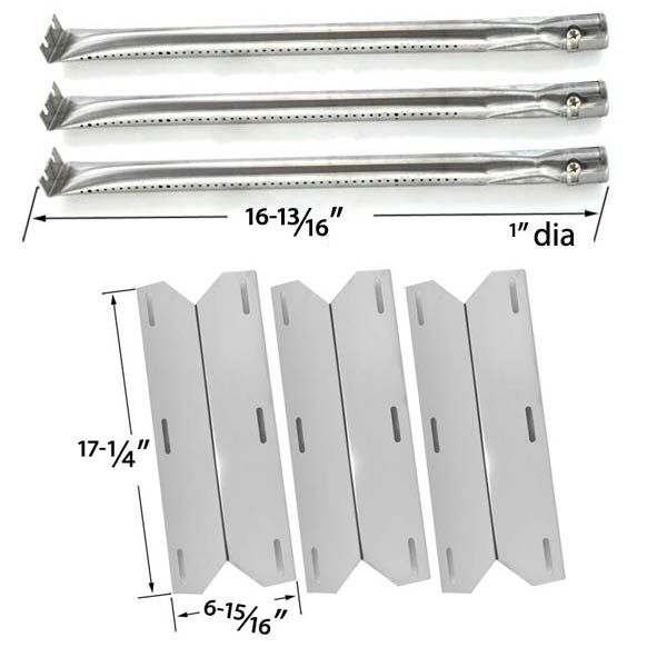 REPLACEMENT CHARMGLOW 720-0230, 720-0036-HD-05 HOME DEPOT 3 BURNER GAS GRILL MODEL | 3 STAINLESS STEEL BURNERS & 3 STAINLESS STEEL HEAT PLATES Fits Charmglow Models: 720-0230, 720-0036-HD-05