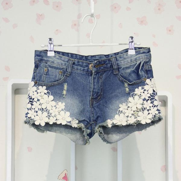 bleach tinted shorts with lace appliqués