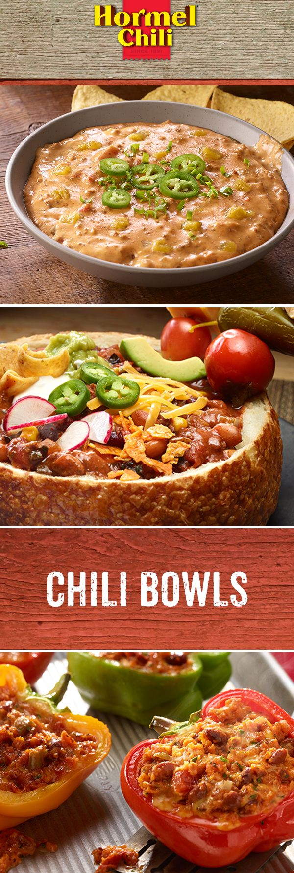 In Chili Nation, anything can be a chili bowl if you put your mind to it. But more importantly, if you put your mouth to it.  | HORMEL® Chili | Zesty Chili Cheese Dip | Chili Bowl | Chili-Stuffed Peppers | Quick and Easy Meal Idea | Winter Recipe | Leftover Chili Ideas | Quick Weeknight Dinner | Game Day Recipes | Quick Party Recipe | Football Party Meal |