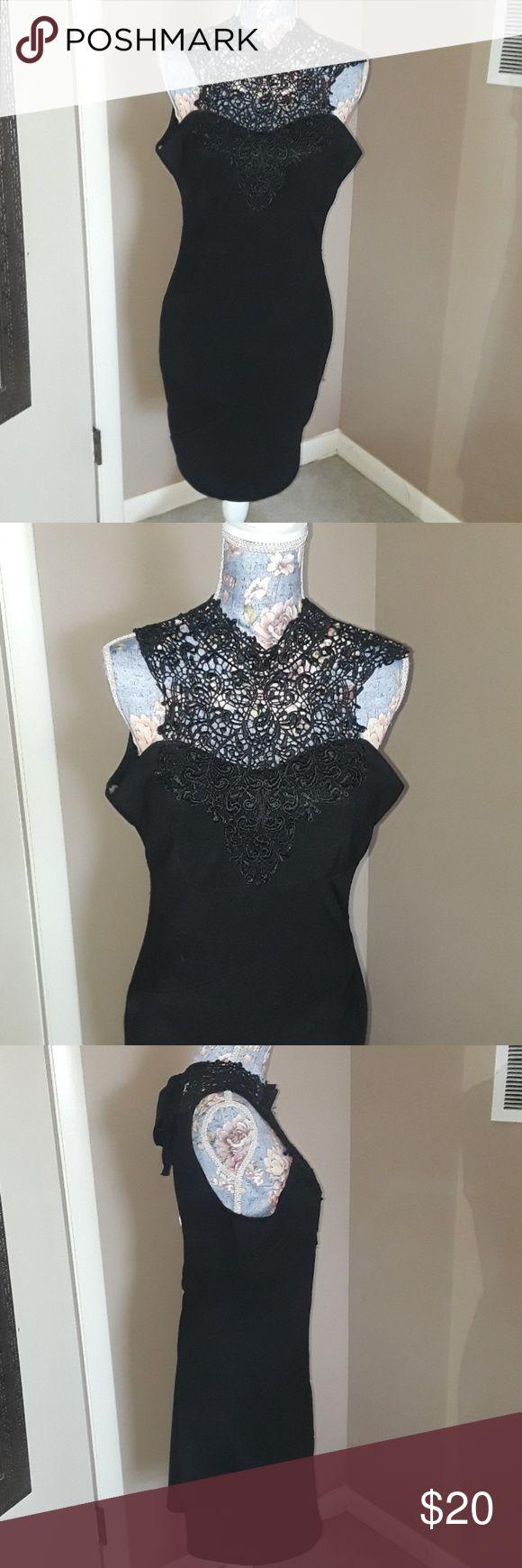 Little Black Dress LBD Lace Collar L NWT Deb Shops  Black Side large  Tie around in back Deb Dresses