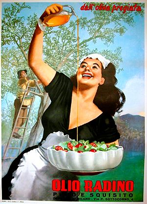 This vintage  Italian olive oil ad is so cheerful