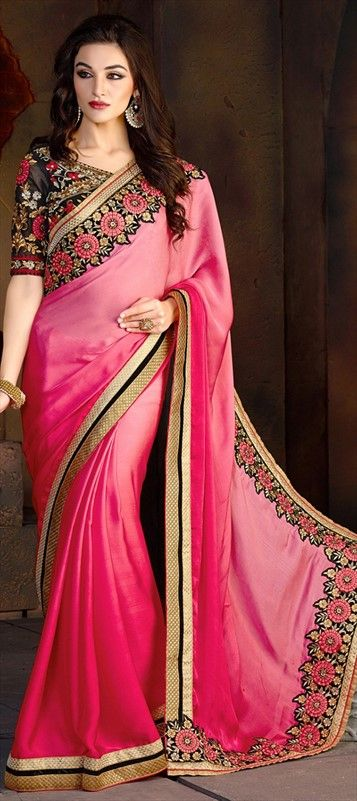 180368, Embroidered Sarees, Party Wear Sarees, Satin, Faux Chiffon, Lace, Machine Embroidery, Resham, Pink and Majenta Color Family