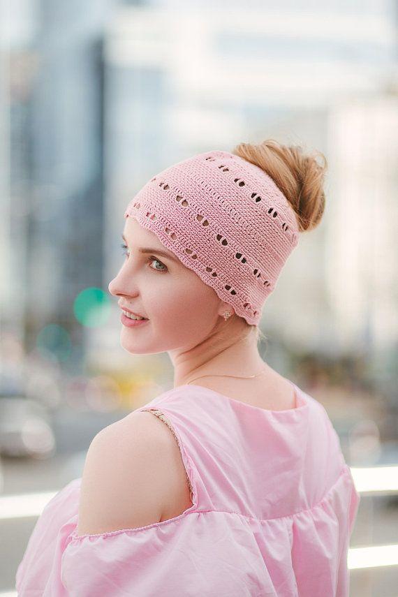 f6a13e2e694 Messy Bun Cotton Hat - Crochet Hat For Women - Crocheted Ponytail ...
