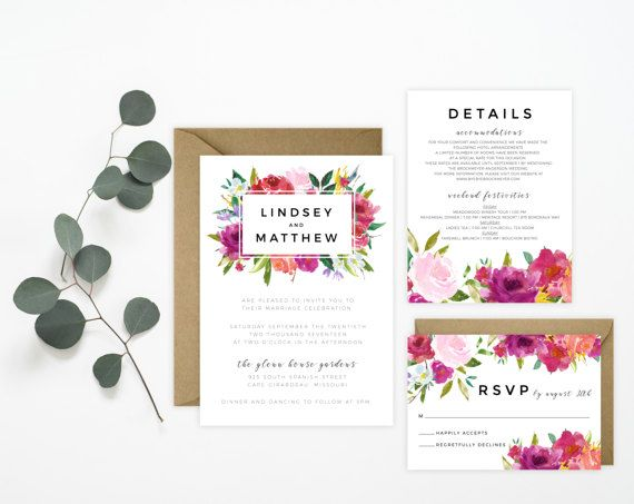 Printable Wedding Invitation Suite   Watercolor Rosey Floral, Blush,  Fuchsia, Peach