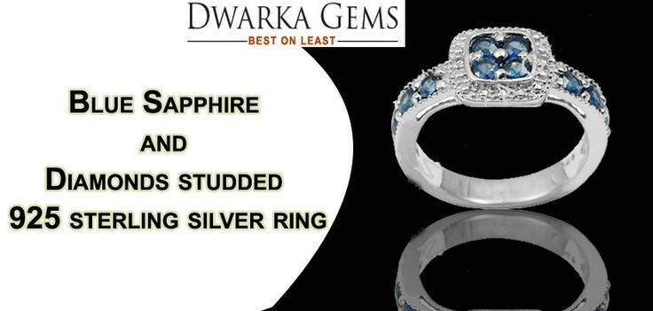 Buy Blue Sapphire and Diamonds studded 925 sterling silver ring