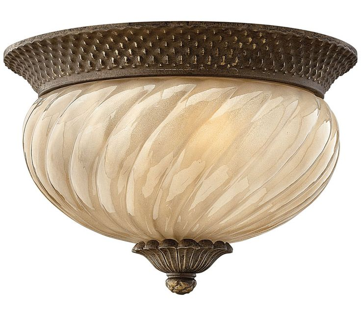 Hinkley 2128PZ Plantation 2LT Pearl Bronze Outdoor Flush Mount Light
