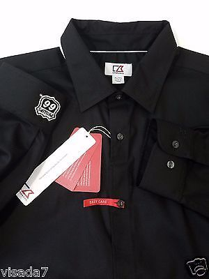 Phillips 66 Cutter and Buck Mens L/S Epic Easy Care Broken Twill Black Shirt XL