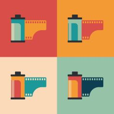 Colorful set of camera film rolls. vector art illustration