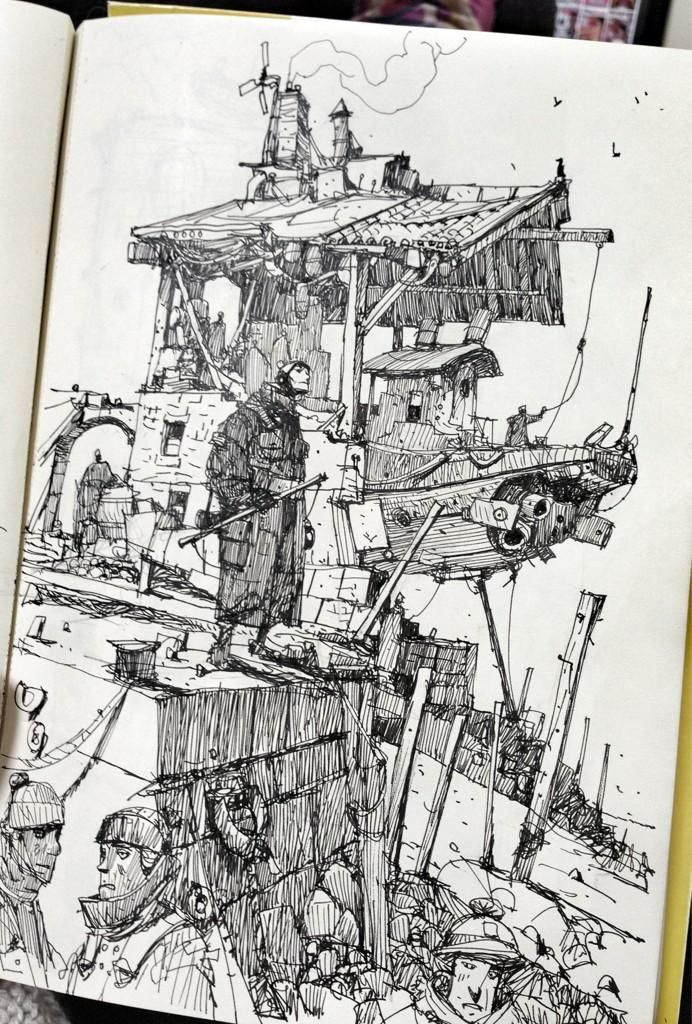 Ian McQue on Twitter: Sketchbook: 'Dry Dock'. http://t.co/4Ebkqkk3u4