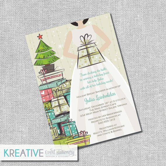 Christmas Bridal Shower Invitation  Stock the Tree  by kreativees