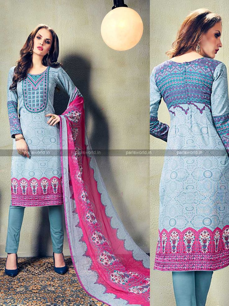 Blue European Wool Lovely Casual Salwar Kameez