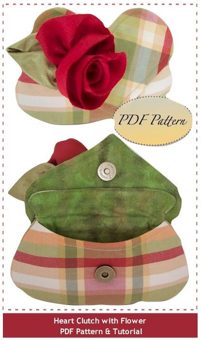 Romantic Heart-Shaped Clutch with Flower PDF Tutorial & Pattern