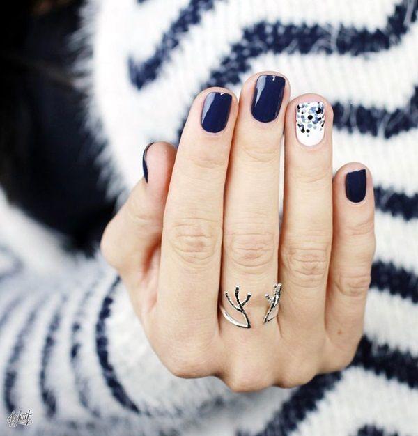 Blue And White Polkadot Nails