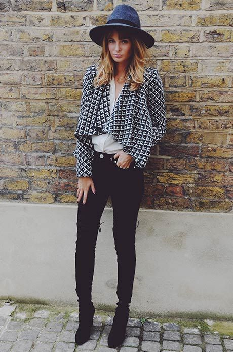 high waisted skinny jeans/super short printed jacket
