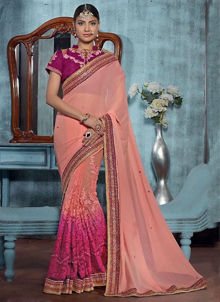 Designer Sarees online shopping in USA UK Canada|Buy Beguile Peach Georgette On Net Designer Saree